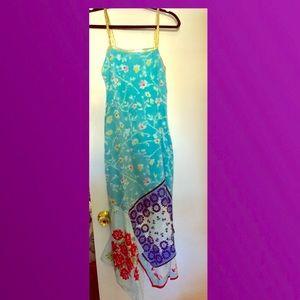 Cynthia Rowley fun chic floral dress gold straps 6